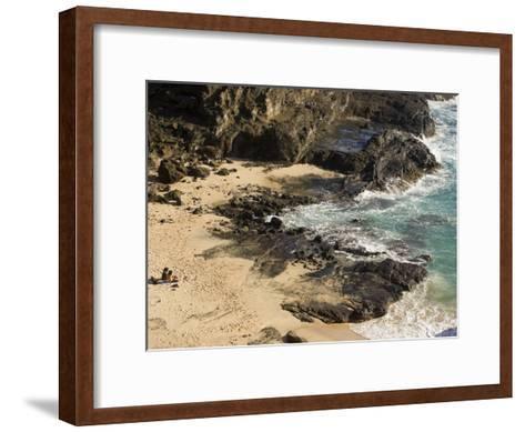 Couple Sunbathing in the Sands of Halona Beach on Oahu Island-Charles Kogod-Framed Art Print