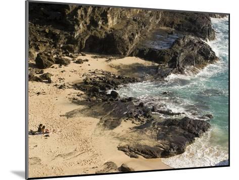 Couple Sunbathing in the Sands of Halona Beach on Oahu Island-Charles Kogod-Mounted Photographic Print