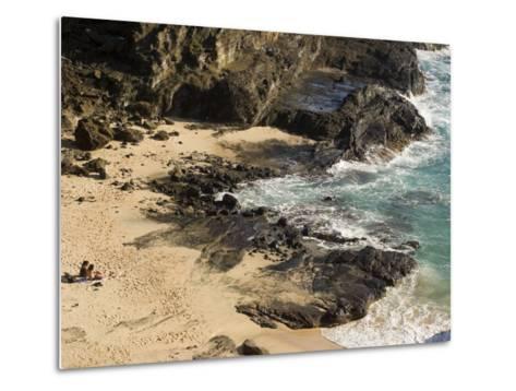 Couple Sunbathing in the Sands of Halona Beach on Oahu Island-Charles Kogod-Metal Print