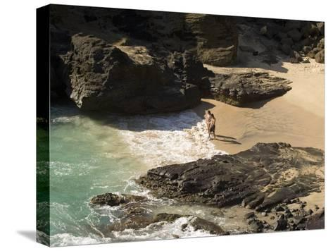 Couple on Halona Beach on Oahu, Hawaii-Charles Kogod-Stretched Canvas Print