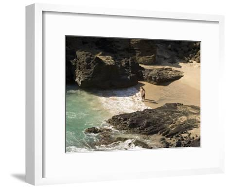 Couple on Halona Beach on Oahu, Hawaii-Charles Kogod-Framed Art Print