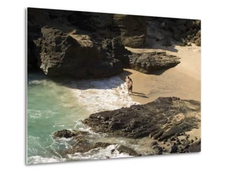 Couple on Halona Beach on Oahu, Hawaii-Charles Kogod-Metal Print