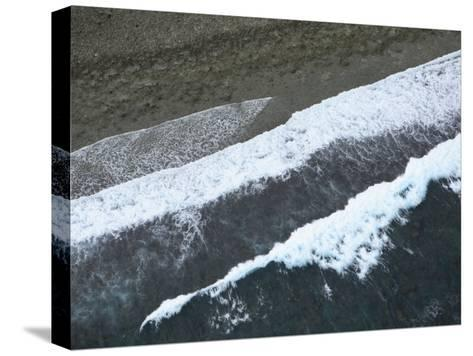 Aerial View of Surf Hitting the Beach on Pohnpei Island-Stephen Alvarez-Stretched Canvas Print