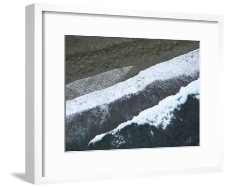 Aerial View of Surf Hitting the Beach on Pohnpei Island-Stephen Alvarez-Framed Art Print