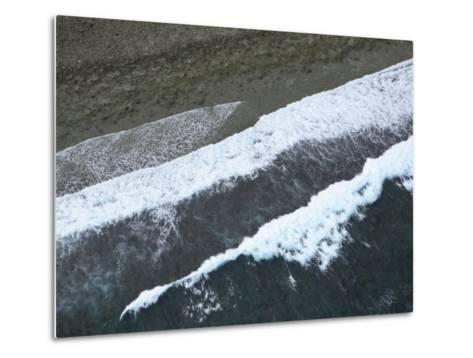 Aerial View of Surf Hitting the Beach on Pohnpei Island-Stephen Alvarez-Metal Print