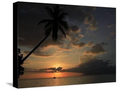Sailboat and Moorea Island Viewed from Papeete-Stephen Alvarez-Stretched Canvas Print