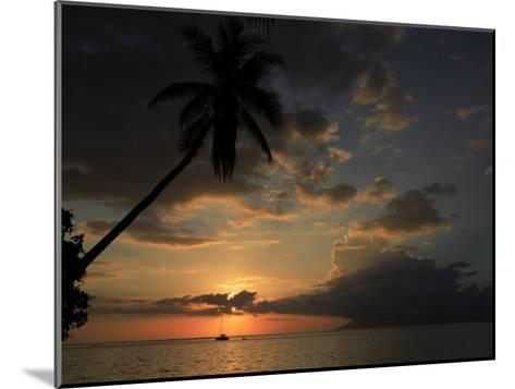 Sailboat and Moorea Island Viewed from Papeete-Stephen Alvarez-Mounted Photographic Print