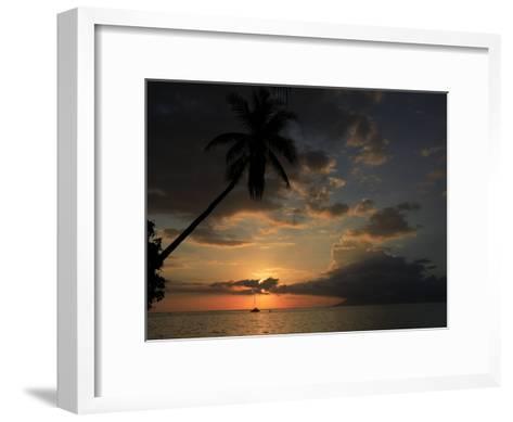 Sailboat and Moorea Island Viewed from Papeete-Stephen Alvarez-Framed Art Print