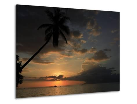 Sailboat and Moorea Island Viewed from Papeete-Stephen Alvarez-Metal Print