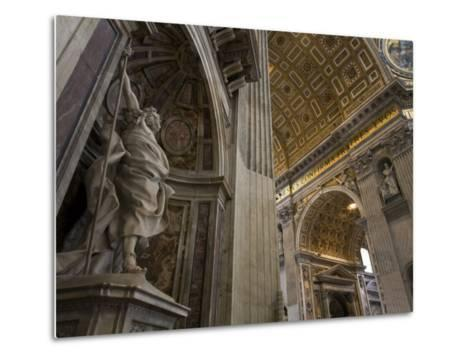 Statue of Saint Longinus by Bernini Inside Saint Peter's Basilica-Scott Warren-Metal Print