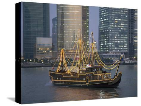 Tour Boat on the Huangpu River, with Modern Shanghai in Background-Scott Warren-Stretched Canvas Print