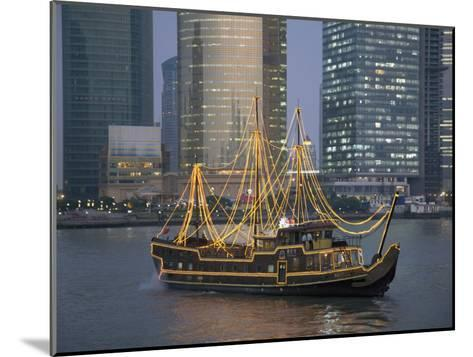 Tour Boat on the Huangpu River, with Modern Shanghai in Background-Scott Warren-Mounted Photographic Print