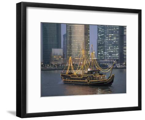 Tour Boat on the Huangpu River, with Modern Shanghai in Background-Scott Warren-Framed Art Print