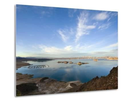 Lake Mead at Dusk with Power Lines from the Hoover Dam Power Plant-Scott Warren-Metal Print