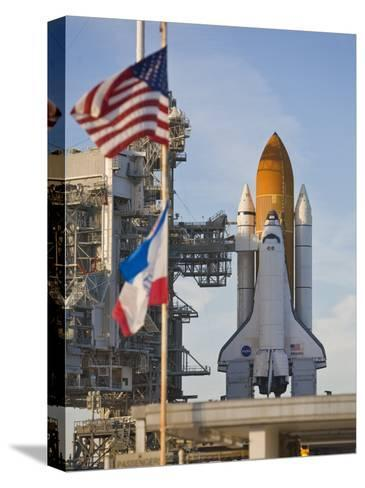 Space Shuttle Atlantis Sitting on Launch Pad 39B Awaiting Lift Off-Mike Theiss-Stretched Canvas Print
