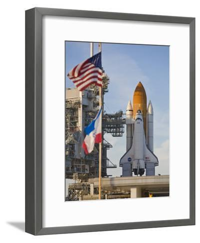 Space Shuttle Atlantis Sitting on Launch Pad 39B Awaiting Lift Off-Mike Theiss-Framed Art Print