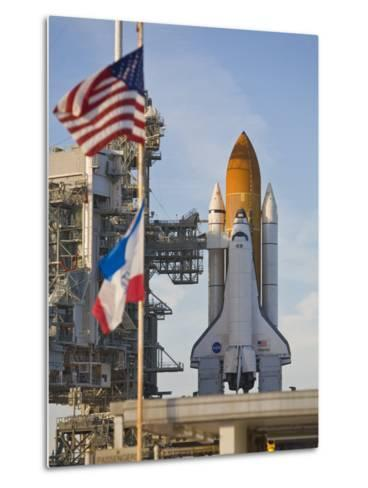 Space Shuttle Atlantis Sitting on Launch Pad 39B Awaiting Lift Off-Mike Theiss-Metal Print