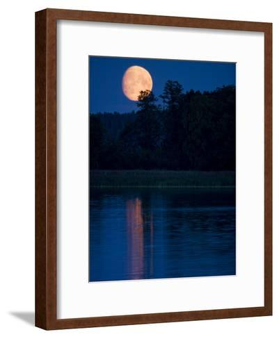 Moon Light Reflecting in Calm Lake Water-Mattias Klum-Framed Art Print