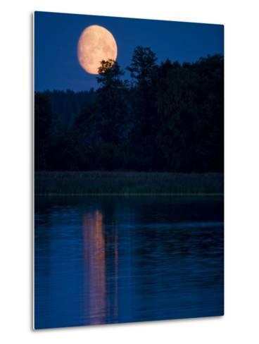 Moon Light Reflecting in Calm Lake Water-Mattias Klum-Metal Print