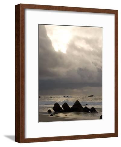 Rocks Jutting Out of the Sand on the Beach in Carmel, California-Phil Schermeister-Framed Art Print