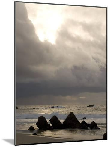 Rocks Jutting Out of the Sand on the Beach in Carmel, California-Phil Schermeister-Mounted Photographic Print
