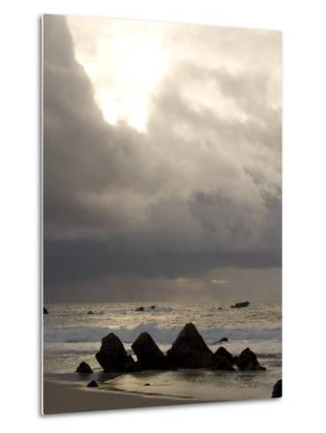 Rocks Jutting Out of the Sand on the Beach in Carmel, California-Phil Schermeister-Metal Print