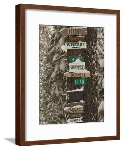 Cabin Owner Signs on a Tree in Winter in the Forest-Phil Schermeister-Framed Art Print
