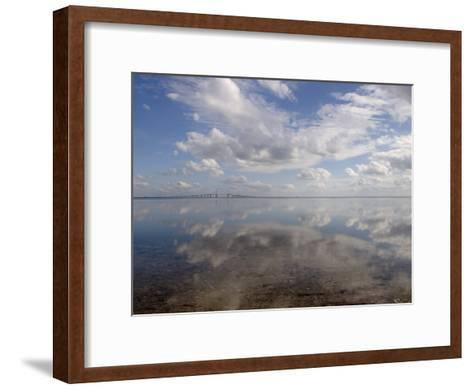 Cloud Reflections in Calm Water with the Sunshine Skyway Bridge-Skip Brown-Framed Art Print