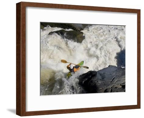 Kayaker Paddles Off a Waterfall into Big Whitewater-Skip Brown-Framed Art Print