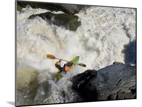 Kayaker Paddles Off a Waterfall into Big Whitewater-Skip Brown-Mounted Photographic Print