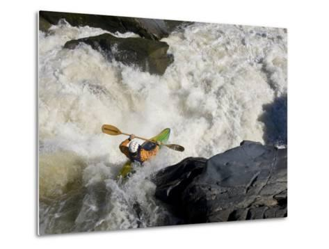 Kayaker Paddles Off a Waterfall into Big Whitewater-Skip Brown-Metal Print