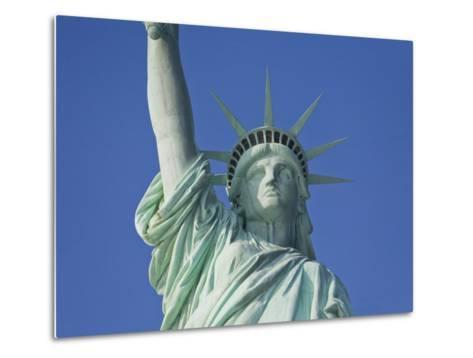 Statue of Liberty Against a Clear Blue Sky-Mike Theiss-Metal Print