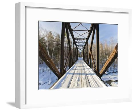 Old Steel Bridge Covered in Snow in the White Mountains in New Hampshire-Mike Theiss-Framed Art Print