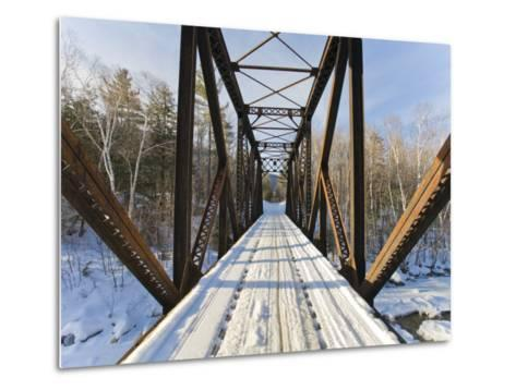 Old Steel Bridge Covered in Snow in the White Mountains in New Hampshire-Mike Theiss-Metal Print
