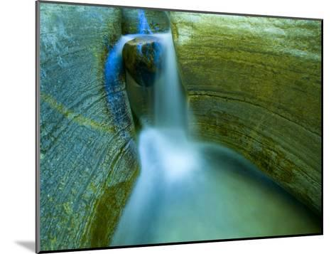 Waterfall and Scuplted Rocks, Matkatamiba Canyon, Grand Canyon-Ralph Lee Hopkins-Mounted Photographic Print