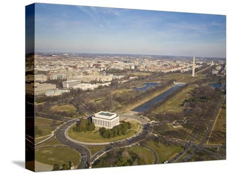 Mall, Lincoln Memorial, Washington Monument, and Reflecting Pool-Mike Theiss-Stretched Canvas Print