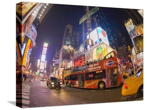 Double Decker Bus on Broadway, in Times Square, at Night-Mike Theiss-Stretched Canvas Print