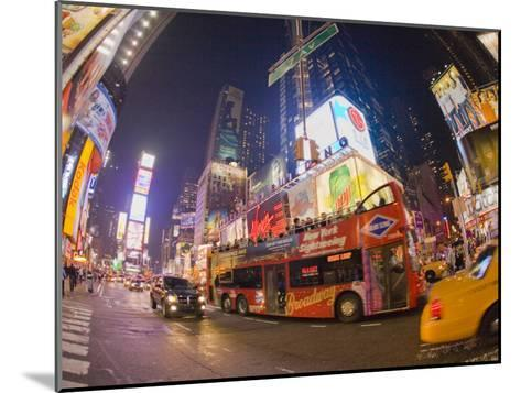 Double Decker Bus on Broadway, in Times Square, at Night-Mike Theiss-Mounted Photographic Print
