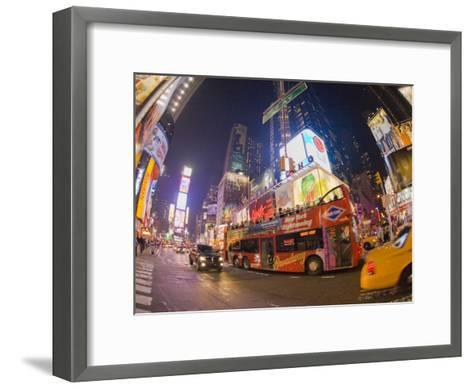 Double Decker Bus on Broadway, in Times Square, at Night-Mike Theiss-Framed Art Print