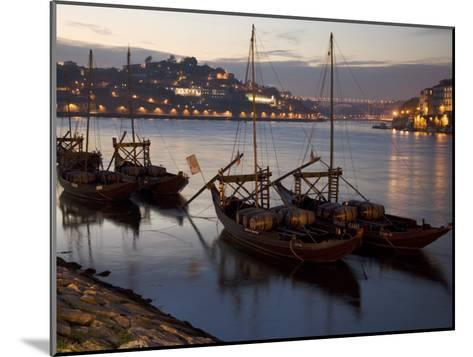 Wine Barrels on Boats in Oporto at Dusk-Michael Melford-Mounted Photographic Print