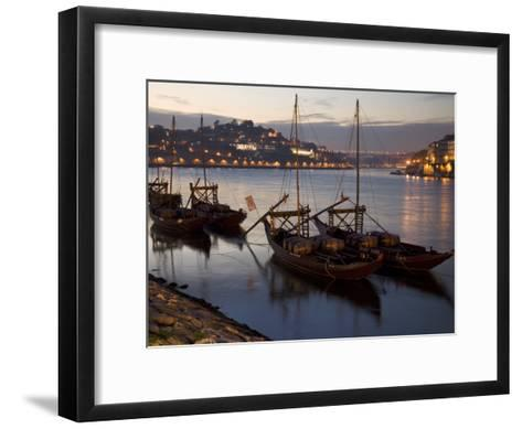 Wine Barrels on Boats in Oporto at Dusk-Michael Melford-Framed Art Print