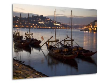 Wine Barrels on Boats in Oporto at Dusk-Michael Melford-Metal Print