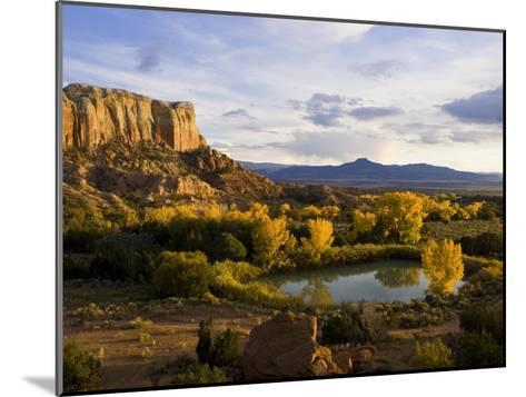 Pond Is Seen Next to Kitchen Mesa with Pedernal Peak in the Distance-Ralph Lee Hopkins-Mounted Photographic Print