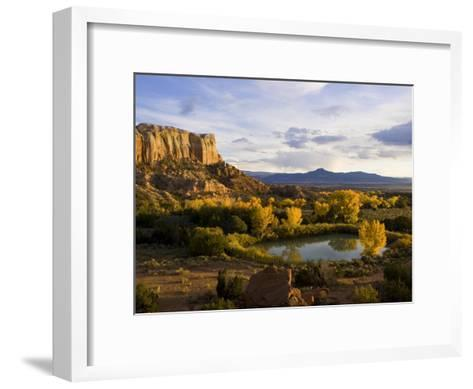 Pond Is Seen Next to Kitchen Mesa with Pedernal Peak in the Distance-Ralph Lee Hopkins-Framed Art Print