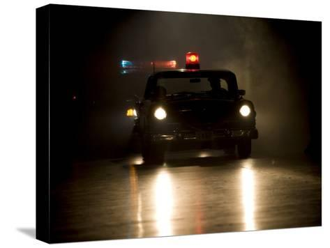Antique Police Car on Night Patrol-Pete Ryan-Stretched Canvas Print