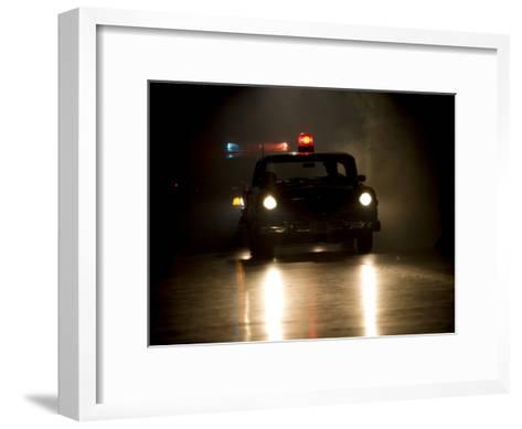 Antique Police Car on Night Patrol-Pete Ryan-Framed Art Print