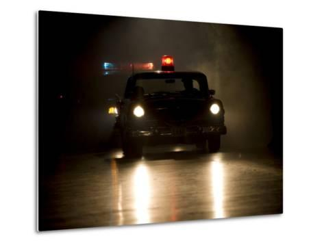 Antique Police Car on Night Patrol-Pete Ryan-Metal Print