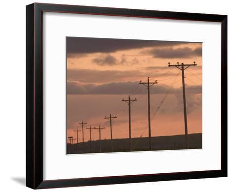 Row of Telephone Poles at Sunset in Rural North Dakota-Phil Schermeister-Framed Art Print