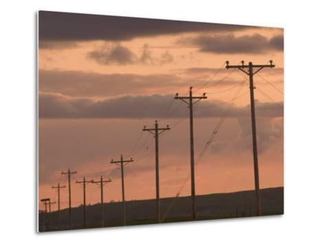 Row of Telephone Poles at Sunset in Rural North Dakota-Phil Schermeister-Metal Print