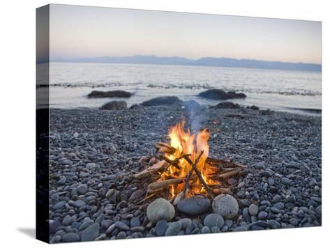 Beach Fire on the Shores of Vancouver Island-Taylor S^ Kennedy-Stretched Canvas Print